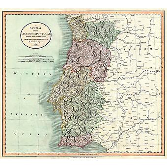 Portugal kaart Cary 1801 Poster Giclee Print