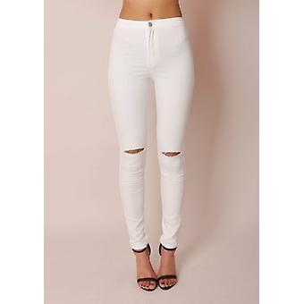 Haut cintré genou déchiré Tube Super Skinny Jeans blanc