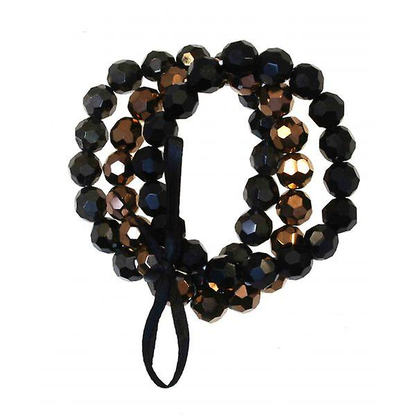 W.A.T 3 Row Metalic Bead Stretch Bracelet