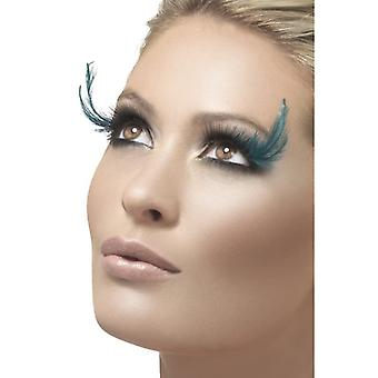 Great selection of fake eyelashes with green feathers
