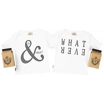 Spoilt Rotten And What & What Ever Baby T-Shirt Twins Set In Gift Milk Carton