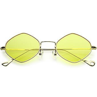 Premium små metall diamant solbriller Ultra Slim Arms farge farget Flat linsen 51mm
