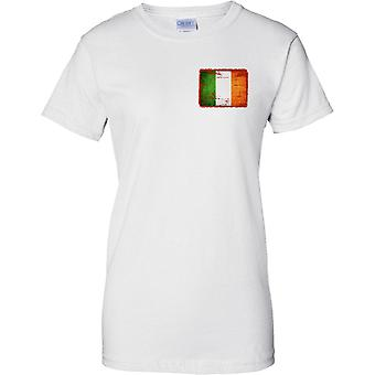 Irish Grunge Effect Flag - Ladies Chest Design T-Shirt