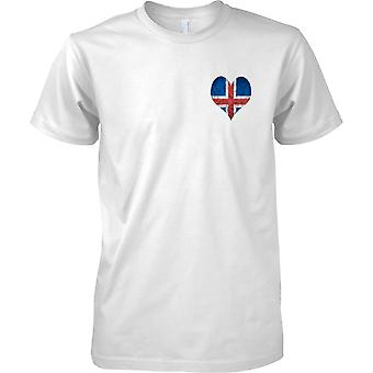 Icleand Flag Love Heart Grunge Effect - Kids Chest Design T-Shirt