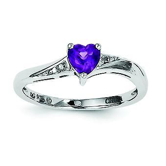 Sterlingsølv polert spiss sett åpne tilbake Rhodium-belagt ametyst diamantring - Ring størrelse: 6 til 9