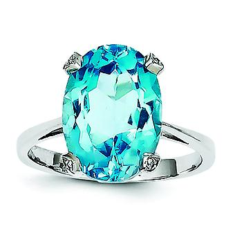 Sterling Silver Polished Rhodium Light Swiss Blue Topaz Diamond Ring - Ring Size: 6 to 8