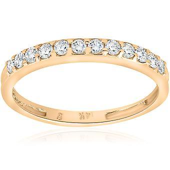 1 / 2ct SI Hochzeit Diamantring 14K Gelbgold
