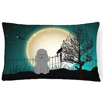 Halloween Scary Poodle Silver Canvas Fabric Decorative Pillow