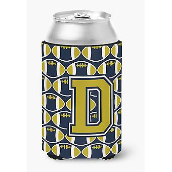 Letter D Football Blue and Gold Can or Bottle Hugger