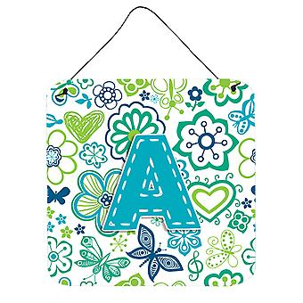 Letter Flowers and Butterflies Teal Blue Wall or Door Hanging Prints CJ2006