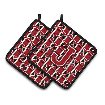 Letter J Football Red, Black and White Pair of Pot Holders