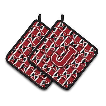 Lettera J calcio rosso, bianco e nero coppia di presine