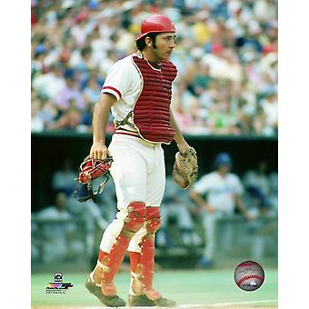Johnny Bench 1973 Action Photo Print