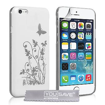 IPhone 6 e 6s farfalla floreale custodia rigida - bianco