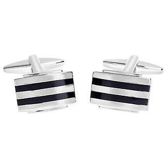 David Van Hagen Shiny Rectangle Enamel Stripes Cufflinks - Silver/Black