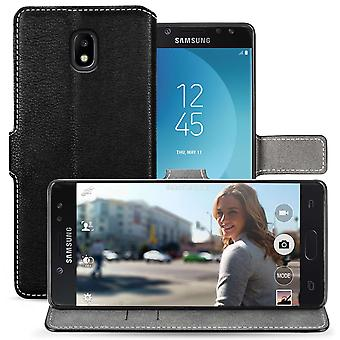 Samsung Galaxy J5 (2017) PU Leather Slim Wallet Stand Case - Black