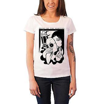 Bringe mig horisonten T Shirt dame pesten band logo officielle hvid tynd pasform