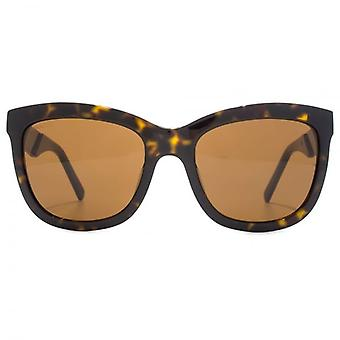 Swarovski Crystal Fabric Embellished Temple Square Sunglasses In Dark Havana