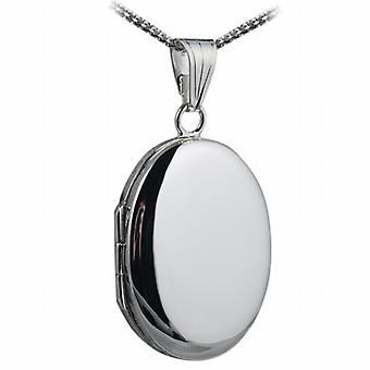 Silver 27x20mm plain oval Locket with a curb Chain 18 inches