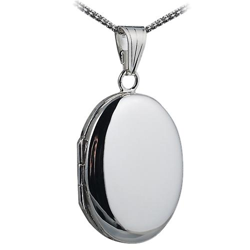 Silver 25x19mm plain oval Locket with Curb chain