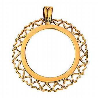 9ct Gold 30mm Full Sovereign mount with pierced hearts edge Pendant