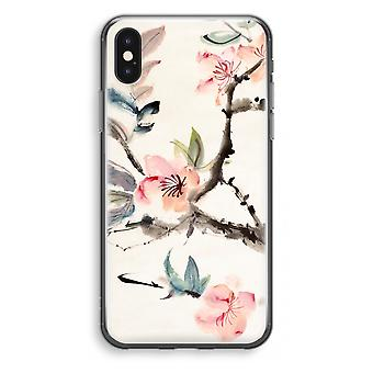iPhone X Transparant Case - Japenese flowers