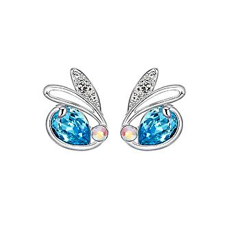 Rabbit earrings adorned with blue Swarovski crystals and Rhodium plate