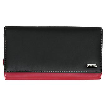 Felda Extra Large Card and Coin RFID Purse - Black/Red