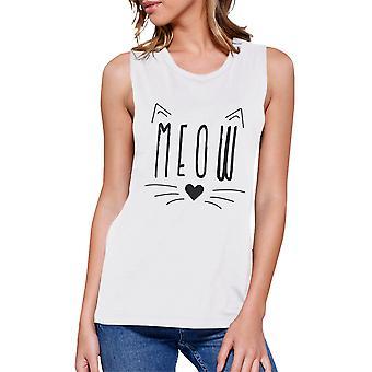 Meow Womens White Muscle T-Shirt