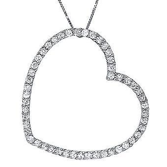1ct Real Diamond Large Heart Shape Pendant White Gold