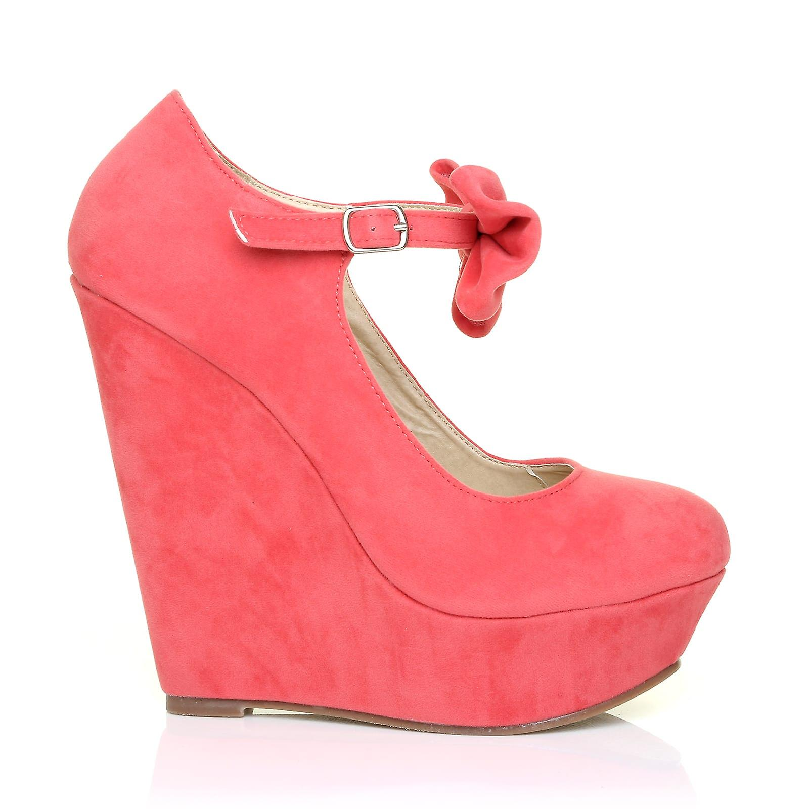 KIMS Coral Suede Ankle Strap Adjustable Bow High Heel Wedge Shoes