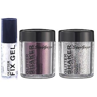 Stargazer Glitter vrac Shaker avec paillettes Difficulté Gel colle - acier gris, grenat