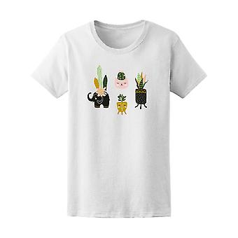 Hand Drawn House Plants  Tee Women's -Image by Shutterstock