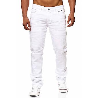 Mænds jeans hvide bukser biker denim ser RABIH