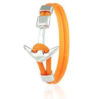 Skipper Anker Armband 21 cm Nylon Armschmuck Orange mit Silbernem Anker 6971