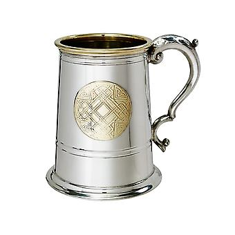 Celtic Brass Badge Pewter Tankard - 1 pint