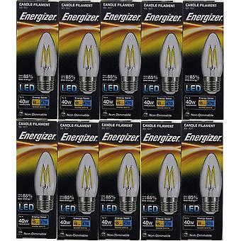 10 X Energizer LED Filament Candle ES E27 4W = 40W 470lm Warm White Screw Cap Bulb  [Energy Class A+]