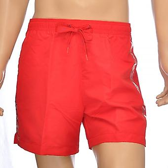 Calvin Klein CK One Logo Tape Swim Shorts, Red, Large