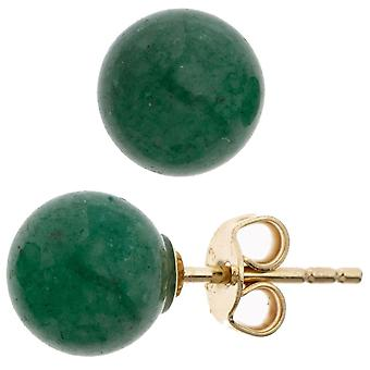 Stud Earrings green from 333 gold yellow gold with green Aventurine earrings gold