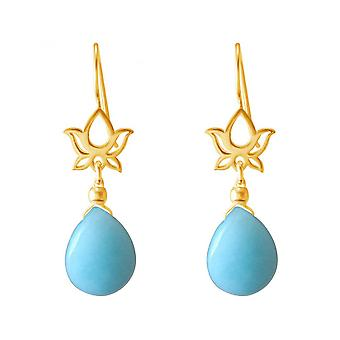 Mandala gold plated ladies - earrings - earrings - 925 Silver - - Lotus Flower - - 4 cm drop turquoise --blue - YOGA