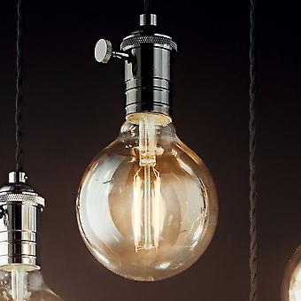 Ideal Lux Doc Switched Pendant Light With Black Flex And Lead Coloured Metal
