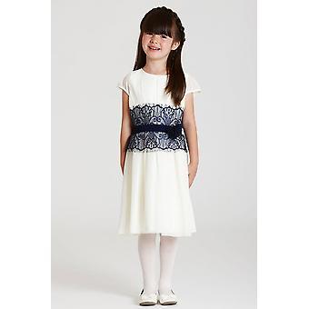 Liten MisDress hvit og marinen Lace Dress