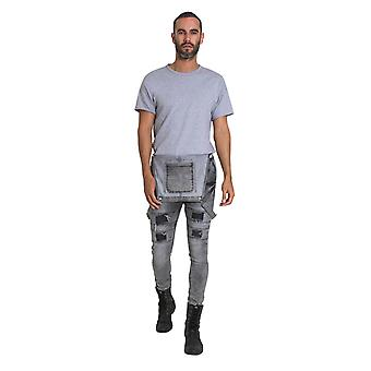 Mens Super Skinny Dungarees - Faded Grey Denim Overalls with Repair Patches