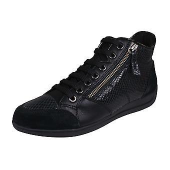 Geox D Myria C PYT PR LE Womens Leather Trainers / Hi Tops - Black