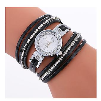 Ladies Silver Watch Women Woman Smart Watches Double Black Jewellery Strap