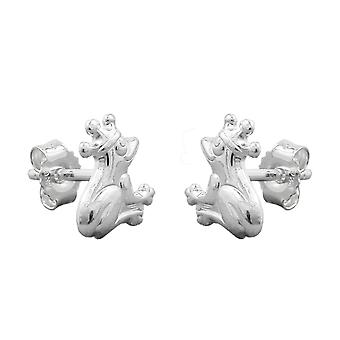 Frog with crown 925 silver Earstuds