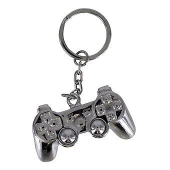 Jouer contrôleur de station porte-clés argenté, imprimé, en métal.