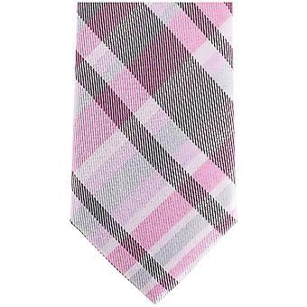 Knightsbridge Neckwear Checked Silk Skinny Tie - Pink/Grey