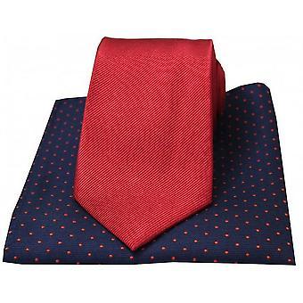 David Van Hagen gerippt, Krawatte und Polka Dot Taschentuch Set - rot
