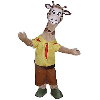SPOTSOUND Brown giraffe mascot, dressed in yellow and Red scout